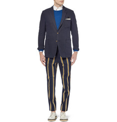 AMI Striped Wool and Cotton-Blend Suit Trousers