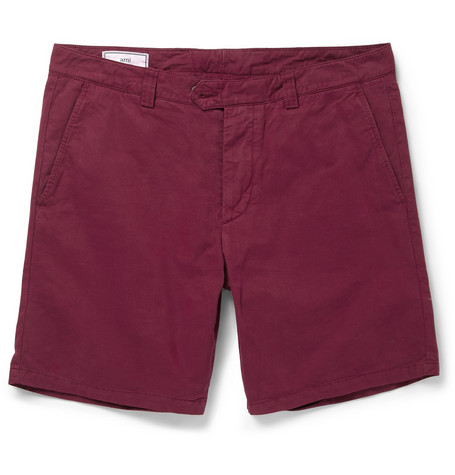 AMI Washed Cotton-Twill Shorts