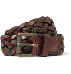 AMI Brown 3.5cm Woven Leather Belt
