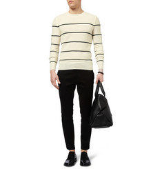 Exemplaire Striped Cashmere-Piqué Sweater
