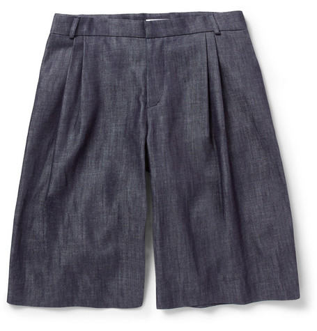 J.W.Anderson Double-Pleated Denim Shorts