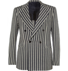 MP di Massimo Piombo Striped Linen and Cotton-Blend Blazer