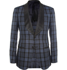 MP di Massimo Piombo Slim-Fit Plaid Linen Tuxedo Jacket