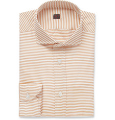 MP di Massimo Piombo Orange Striped Silk Shirt
