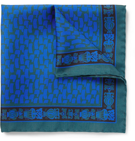 MP di Massimo Piombo Printed Silk Pocket Square