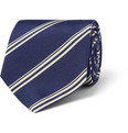 Drake's - Striped Silk and Cotton-Blend Tie