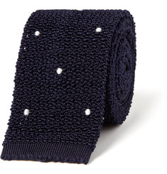 Drake's Spotted Knitted-Silk Tie