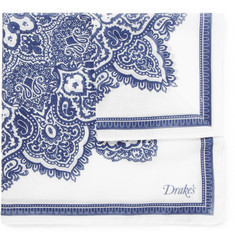 Drake's Printed Cotton Pocket Square