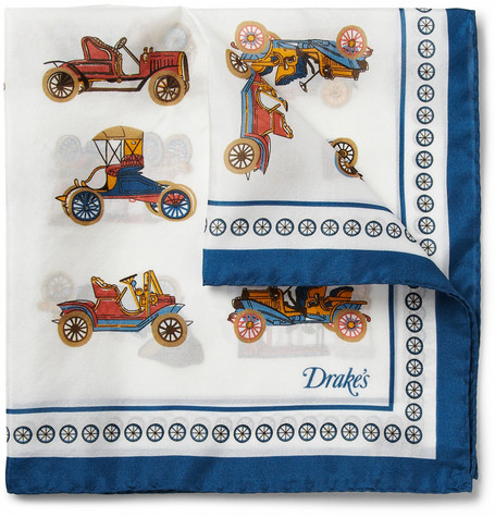 Drake's Car-Print Silk Pocket Square
