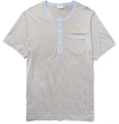 Zimmerli Fine-Stripe Mercerised Cotton and Chambray Henley T-Shirt