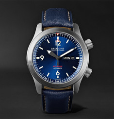 Bremont - U2/BL Automatic 45mm Stainless Steel and Leather Watch