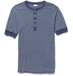 Schiesser Striped Cotton-Jersey Henley T-Shirt