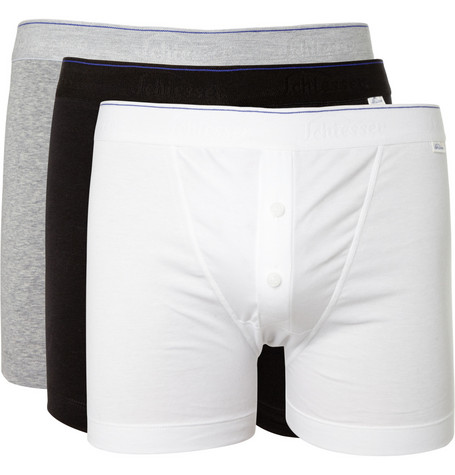 Schiesser Three-Pack Cotton-Blend Jersey Boxer Briefs