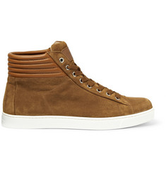 Gianvito Rossi Brady High-Top Suede and Leather Sneakers