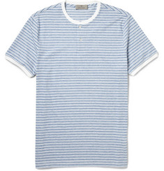 Canali Striped Cotton-Jersey Henley T-Shirt