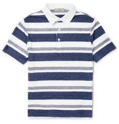 Canali Striped Cotton-Jersey Polo Shirt