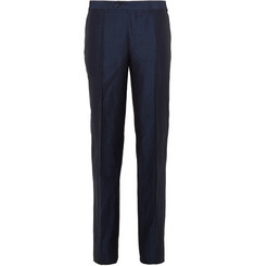 Canali Navy Linen and Silk-Blend Slub-Satin Trousers