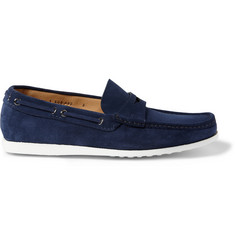 Car Shoe Rubber-Soled Suede Penny Loafers