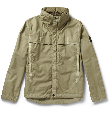 Stone Island Bonded-Cotton Lightweight Rain Jacket