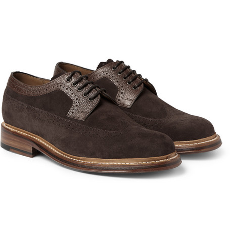 Grenson Sid Pebble-Grain Leather and Suede Brogues