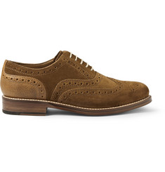 Grenson Stanley Suede and Pebbled Leather Wingtip Brogues