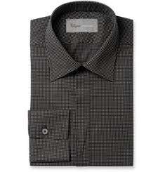Kilgour Black Spot-Print Lightweight Cotton Shirt