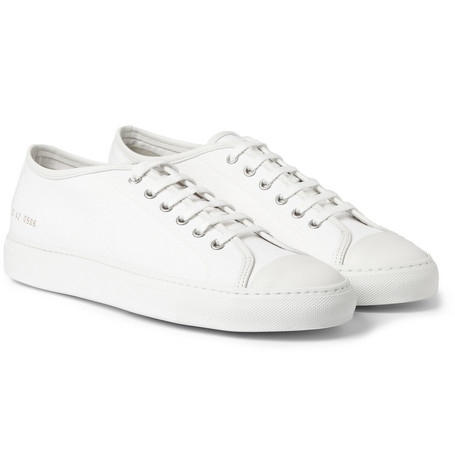 Common Projects Tournament Leather-Trimmed Canvas Sneakers