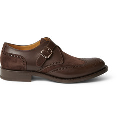 O'Keeffe Algy Suede and Leather Monk-Strap Brogues