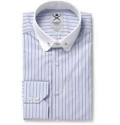 Hackett Blue Slim-Fit Contrast-Collar Cotton-Blend Shirt