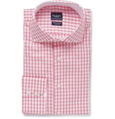 Hackett Pink Slim-Fit Gingham Check Cotton Oxford Shirt