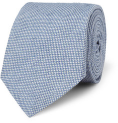 Hackett Patterned Cotton, Linen and Silk-Blend Tie