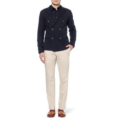 Hardy Amies Double-Breasted Linen and Cotton-Blend Cardigan