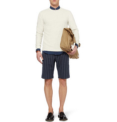 Our Legacy Striped Cotton, Wool and Linen-Blend Shorts