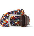 Anderson's - 3.5cm Leather-Trimmed Elasticated Woven Belt