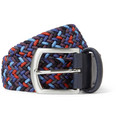 Anderson's - 4cm Leather-Trimmed Elasticated Woven Belt