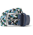 Anderson's - 3.5 cm Leather-Trimmed Elasticated Woven Belt