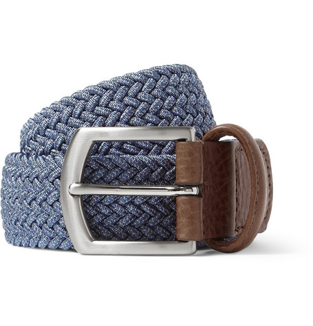 Anderson's Blue 3.5cm Leather-Trimmed Elasticated Woven Belt