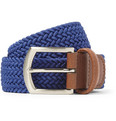 Anderson's - Blue 3.5cm Leather-Trimmed Elasticated Woven Belt