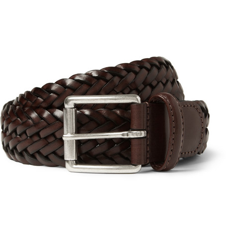 Anderson's Brown 3.5cm Burnished Woven-Leather Belt