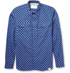 White Mountaineering Polka-Dot Print Cotton Shirt