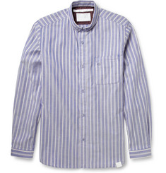White Mountaineering Striped Button-Down Collar Cotton-Piqué Shirt
