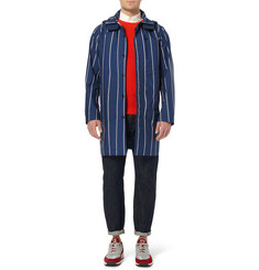 White Mountaineering Hooded Striped Trench Coat