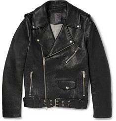 Lot78 Pebbled-Leather Biker Jacket