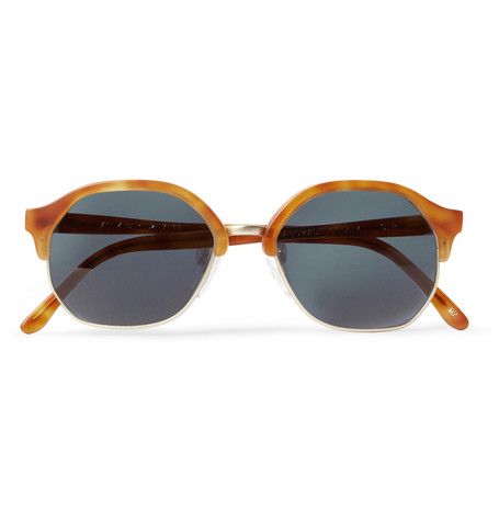L.G.R Zanzibar Havana Acetate and Metal Round-Frame Sunglasses