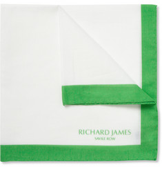 Richard James Contrast-Border Cotton Pocket Square