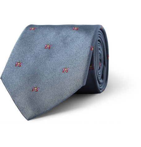 Richard James Butterfly-Embroidered Silk Tie