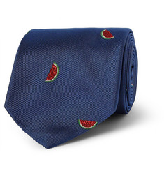 Richard James Watermelon-Embroidered Silk Tie
