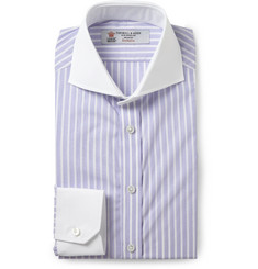 Turnbull & Asser Purple Slim-Fit Contrast-Collar Cotton Shirt