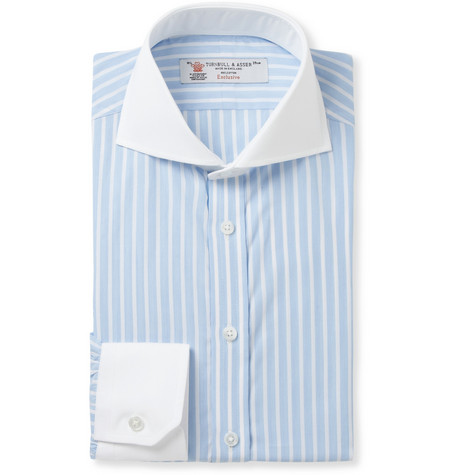 Turnbull & Asser Blue Slim-Fit Contrast-Collar Cotton Shirt
