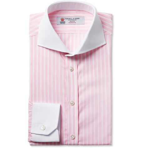 Turnbull & Asser Pink Slim-Fit Contrast-Collar Cotton Shirt